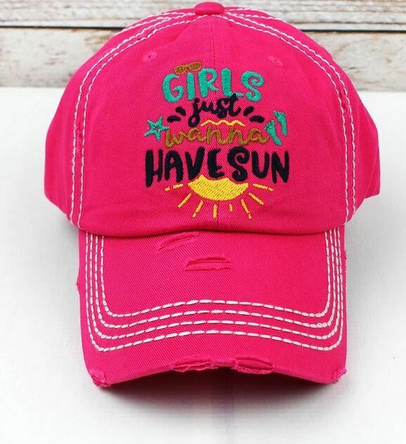 Hot Pink Girls Just Wanna Have Sun Hat
