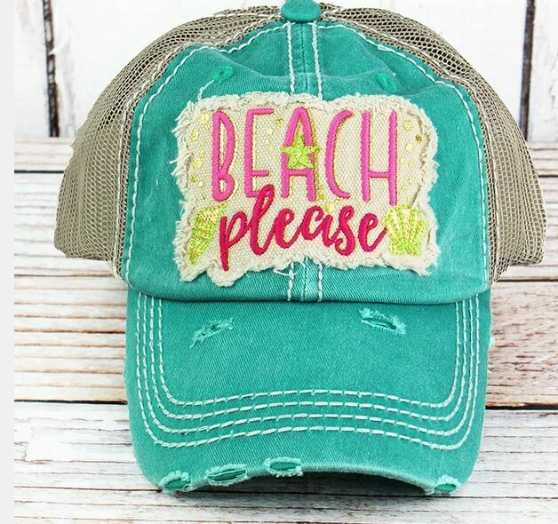 "Distressed hat turquoise ""Beach Please"" hat"