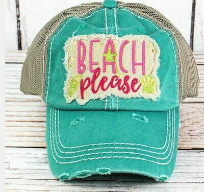 Distressed hat turquoise