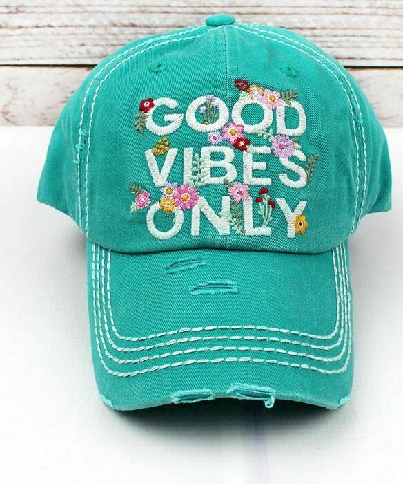 Turquoise Good Vibes Only hat