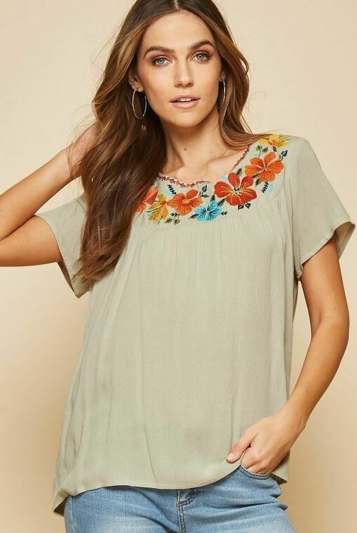 AU Sage Embroidery top