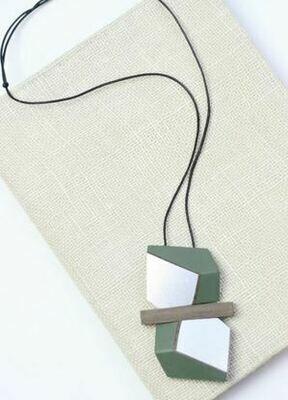 Sylca Green and Silver Mixed Media Necklace