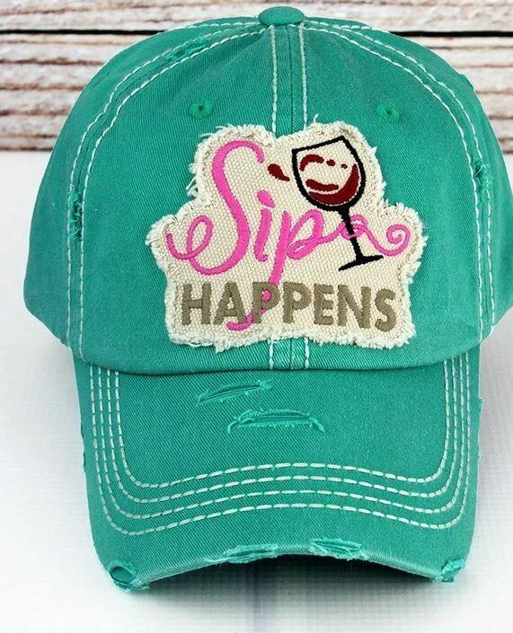 Distressed turquoise 'Sip Happens' Cap