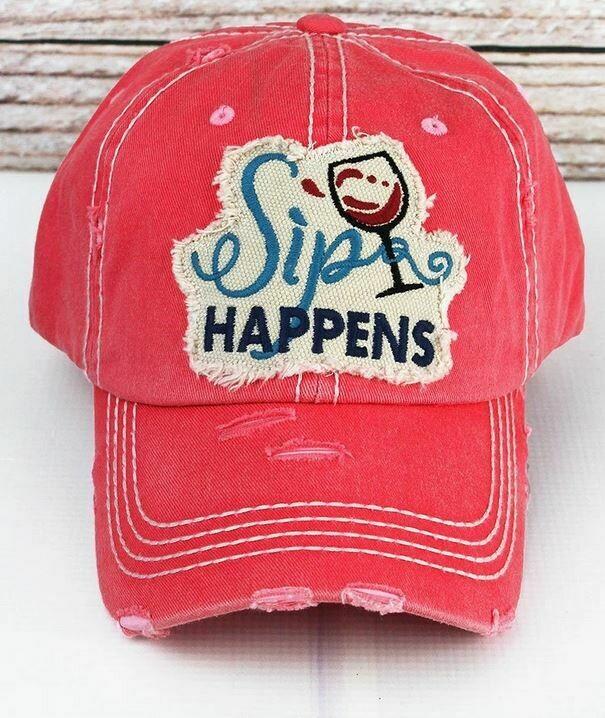 Distressed Salmon 'Sip Happens' Cap