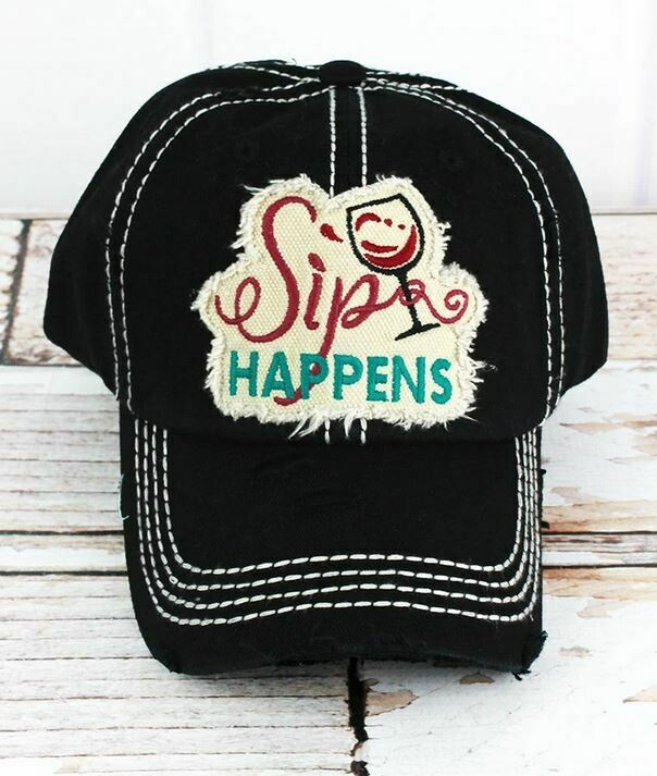 Distressed Black 'Sip Happens' Cap