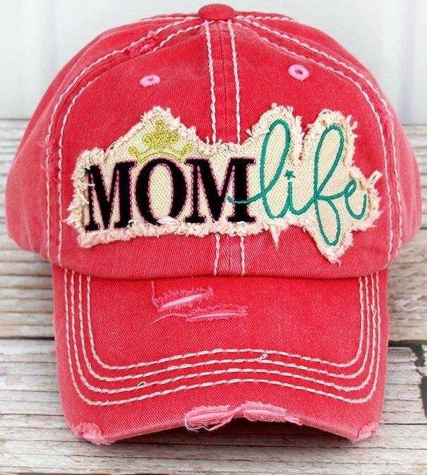 Distressed Salmon 'Mom Life' Cap