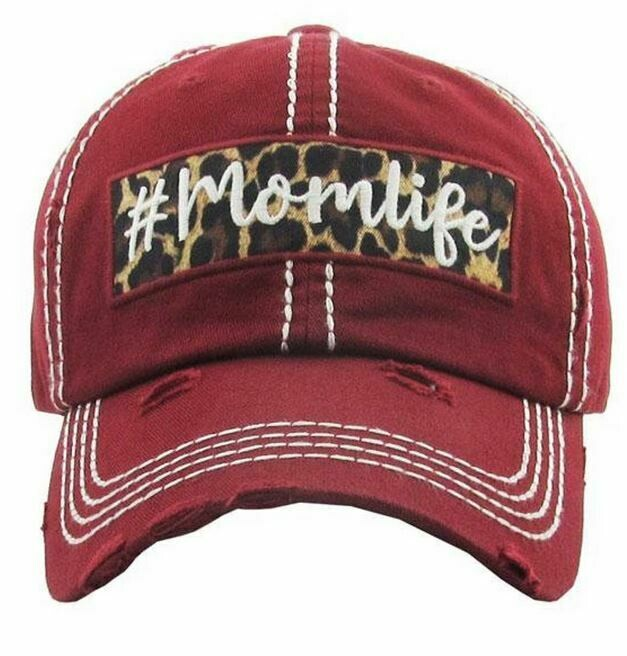 Distressed Burgandy 'Mom Life' Cap