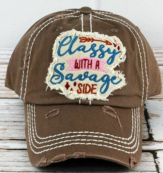 Distressed Mocha 'Classy With A Savage Side' Cap