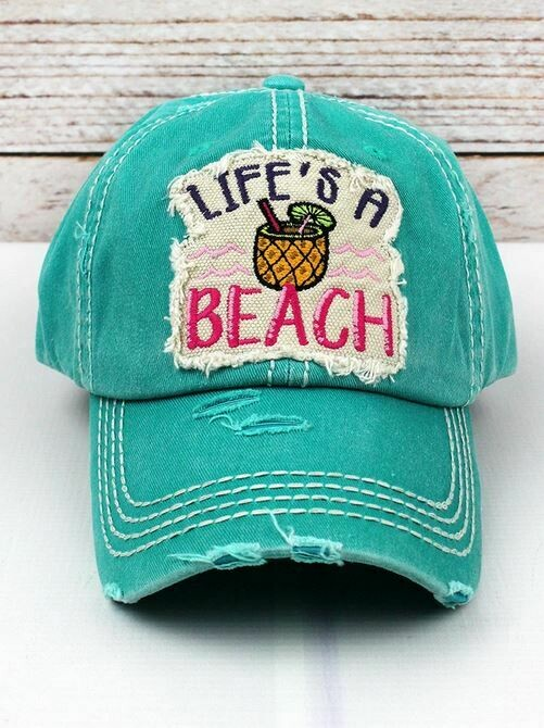 Distressed turquoise'Life's A Beach' Cap