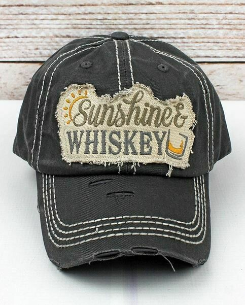 Distressed Black 'Sunshine & Whiskey' Cap