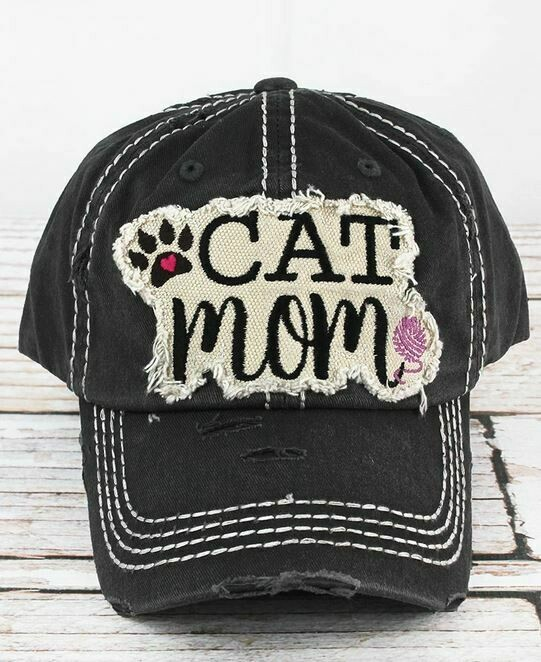 Distressed Charcoal 'Cat Mom' Cap1