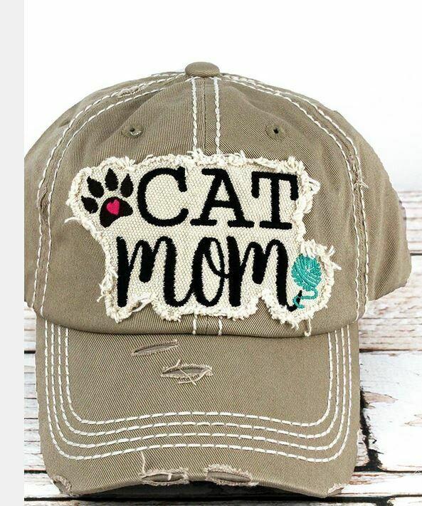 Distressed khaki 'Cat Mom' Cap