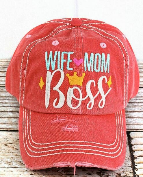 Distressed cap salmon Wife Mom Boss- Cap -