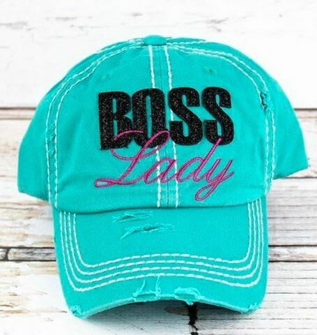 Distressed cap turquoise Boss Lady