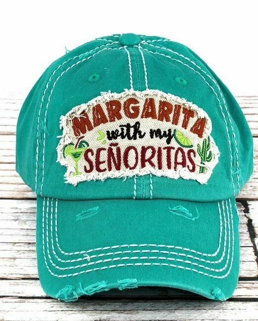 Distressed Turquoise 'Margarita With My Senoritas' Cap