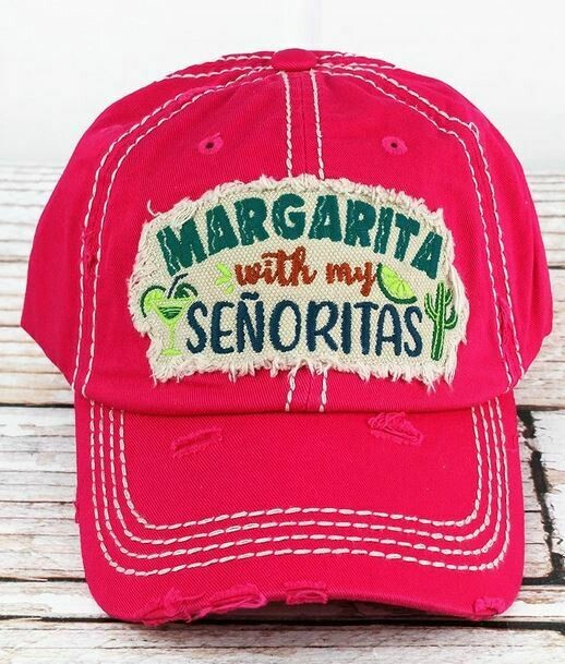 Distressed Hot Pink 'Margarita With My Senoritas' Cap