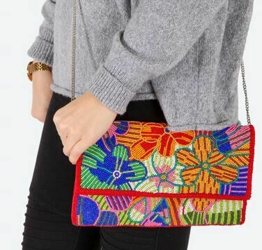 Colorful floral beaded bag with chain