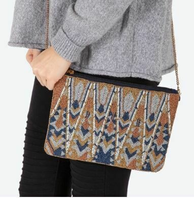 Brown/Gray/ and blue Beaded bag