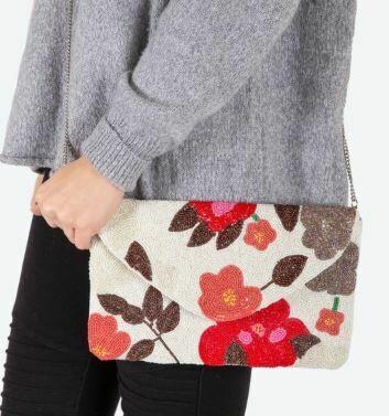 Beaded Coral, Floral bag