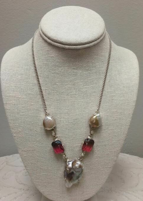 Biwa pearl/ Mozambique Garnet Necklace