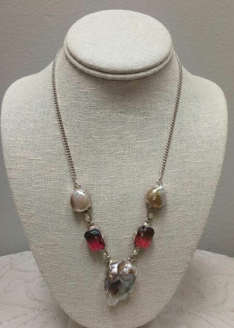 Biwa pearl/ Mozambique garnet