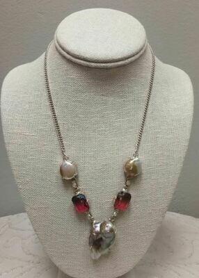 Biwa pearl/ Mozambique Garnet Necklace