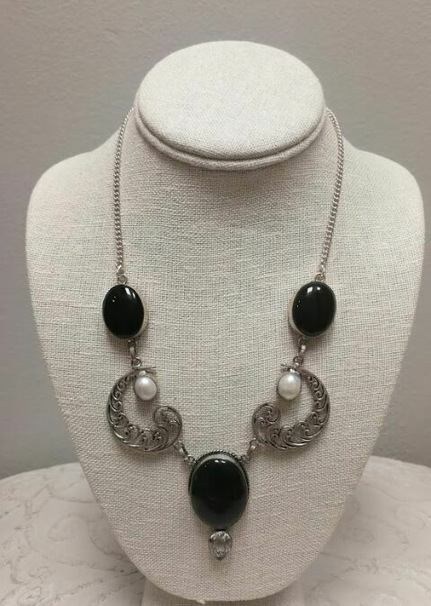 Onyx and Pearl Sterling Silver Necklace