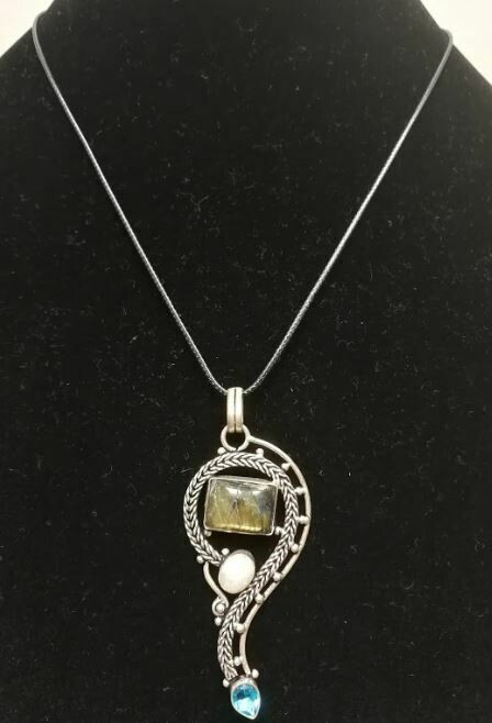 Milky Opal, Citrine Sterling Silver Pendent