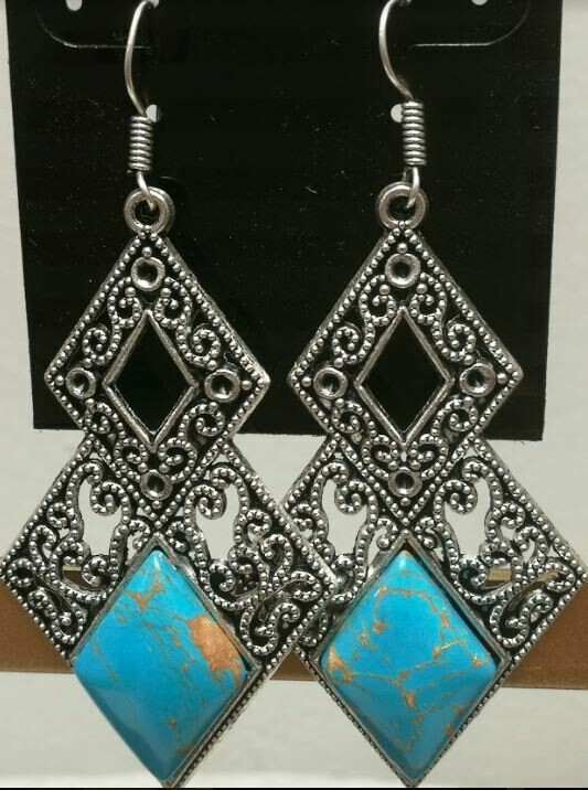 Charoite Turquoise Sterling Silver Earrings