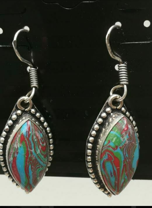 Rainbow Calsilica Sterling Silver Earrings