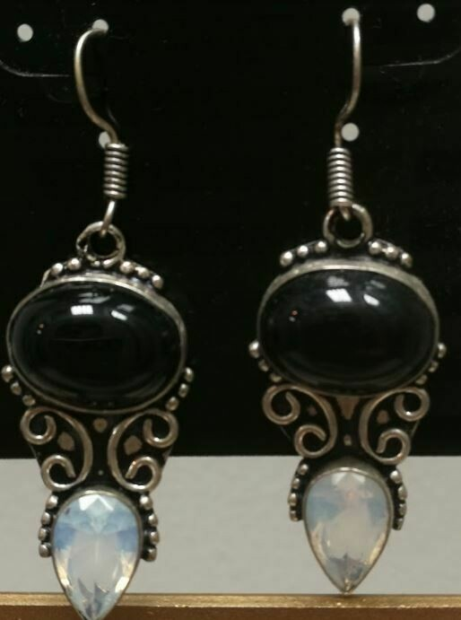Onyx/ Opal Sterling Silver Earrings