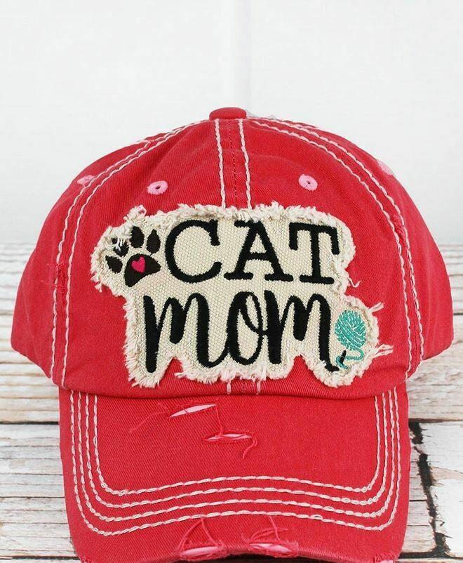 Distressed Salmon 'Cat Mom' Cap
