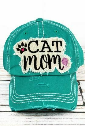 Distressed Turquoise 'Cat Mom' Cap