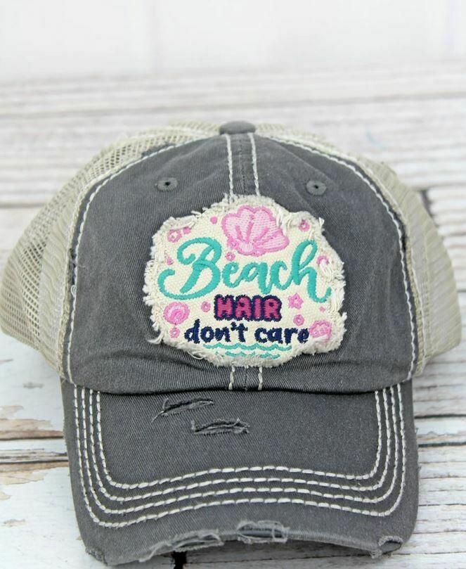 Distressed Black 'Beach Hair Don't Care' Mesh Cap