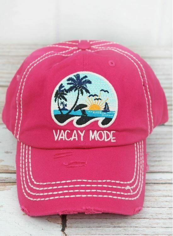 Distressed Hot Pink 'Vacay Mode' Cap