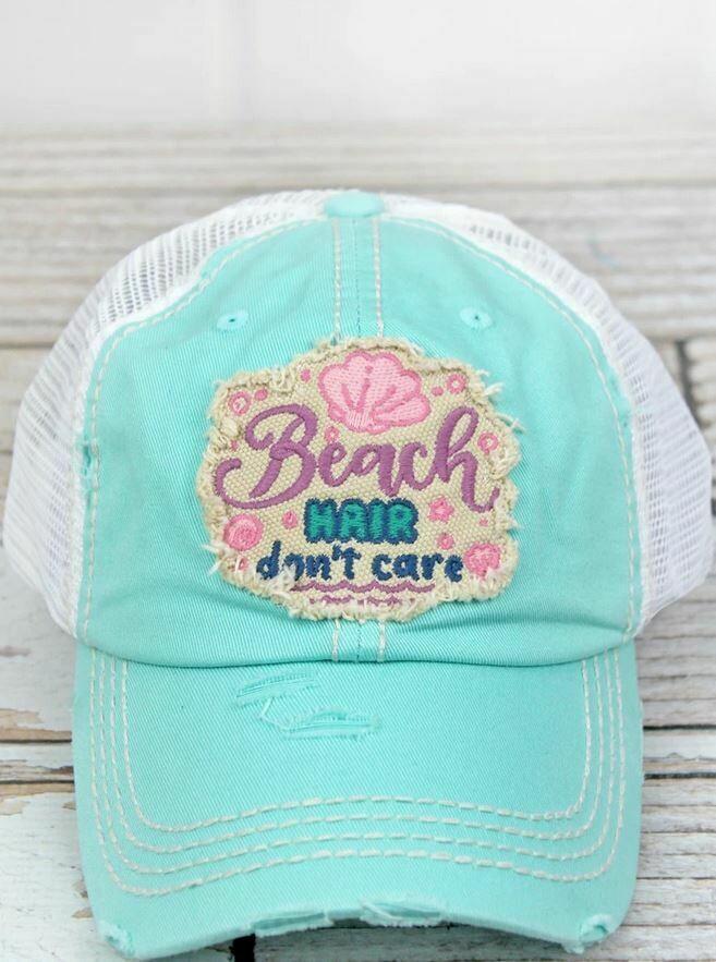 Distressed Mint Blue 'Beach Hair Don't Care' Mesh Cap