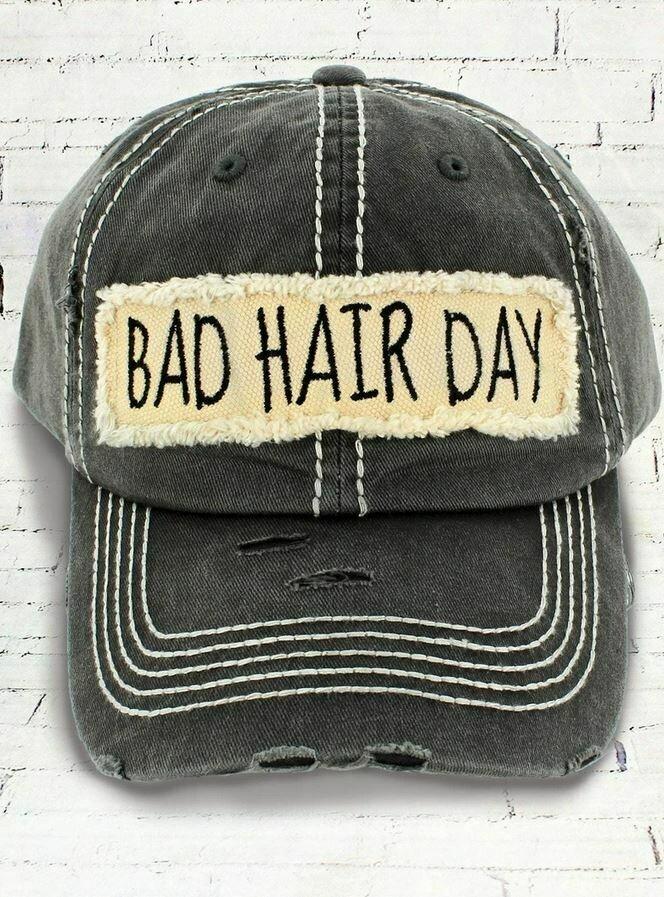 Distressed Black 'Bad Hair Day' Cap