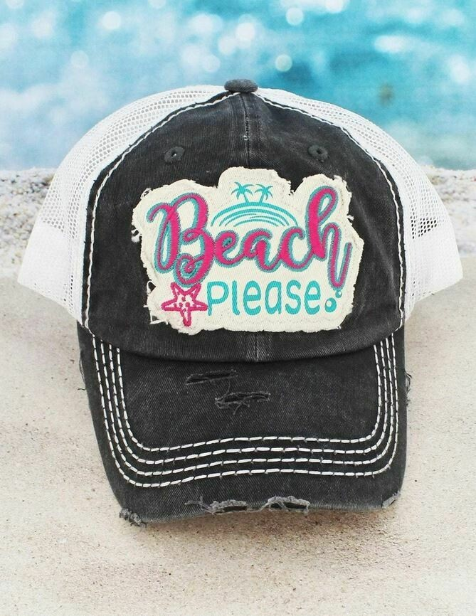 Distressed Dark Gray 'Beach Please' Mesh Cap