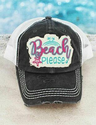Distressed Dark Gray 'Beach Please' Mesh Cap
