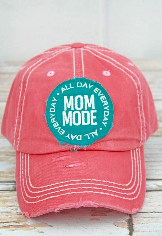 Distressed Salmon 'Mom Mode' Cap