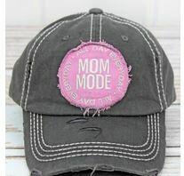Distressed Black 'Mom Mode' Cap