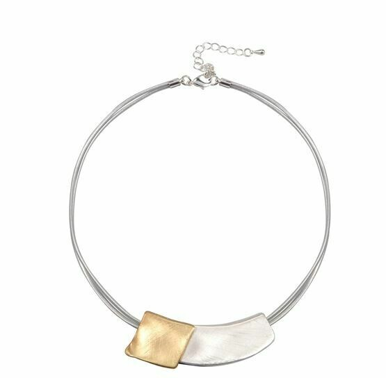2 Tone Pendant Choker Necklace