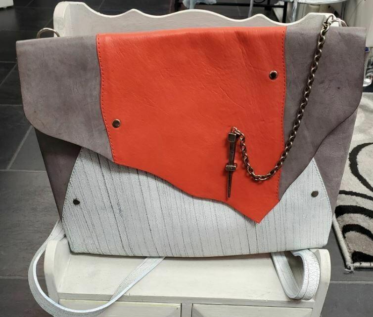 Orange/ White/Grey Leather Backpack