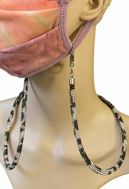 Silver Leopard Rhinestone mask holder
