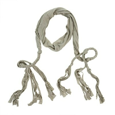 Saskia Braided Belt/Scarf, Light Grey