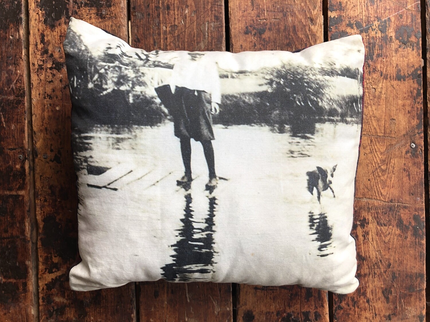 Boy and Dog in the Bayfield River Pillow