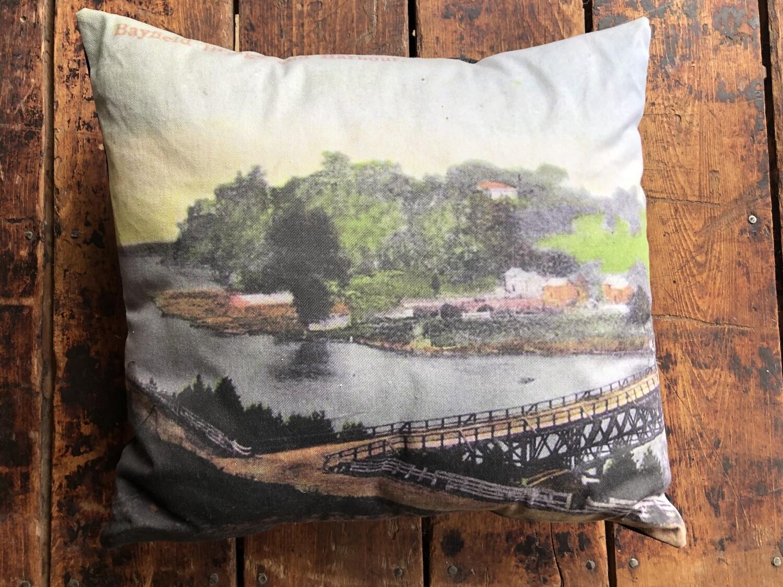 Bayfield River Postcard Pillow