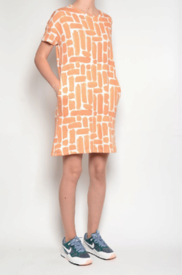 PAN ~ Coral Brushstroke Dress