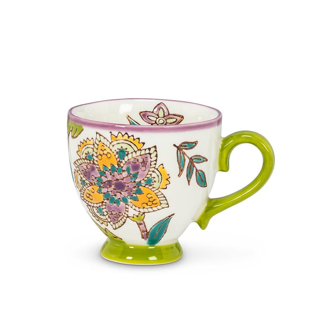 Green + Purple Chintz Espresso Mug