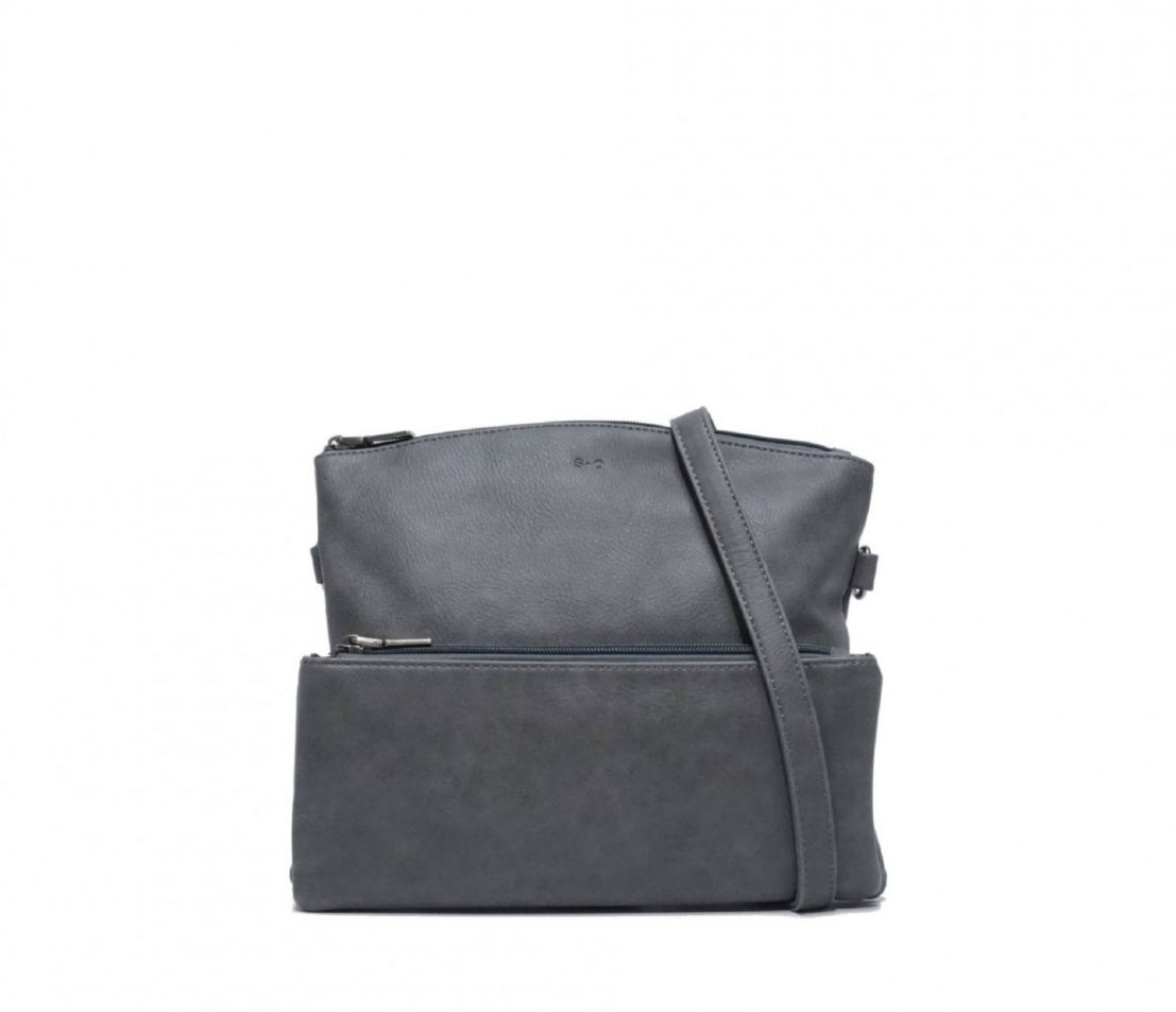 kale cross body purse - charcoal grey